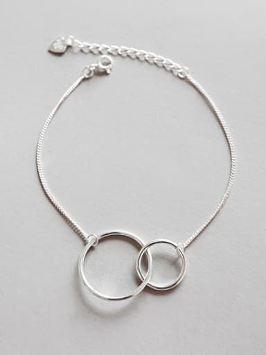 Pure silver cold wind double ring circle hand chain