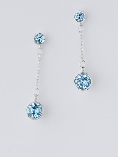 Shimmering Round Shaped Blue Zircon Silver Drop Earrings
