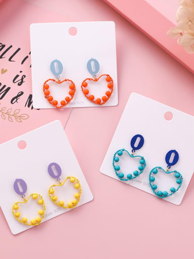 Alloy With Platinum Plated Simplistic Heart Drop Earrings