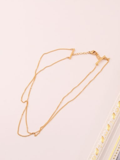 Titanium With Gold Plated Simplistic Chain Multi Strand Necklaces