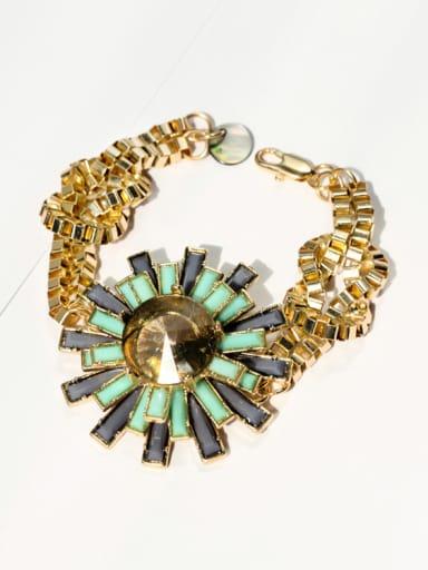 Alloy Gold Plated Rhinestones Bracelet