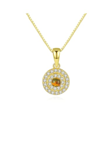 925 Sterling Silver With Cubic Zirconia  Personality Round Necklaces
