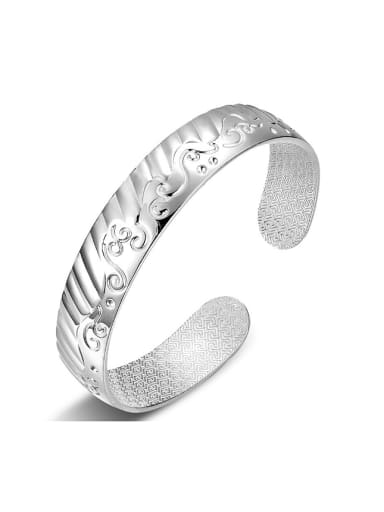 Simple 999 Silver Sea Wave Opening Bangle
