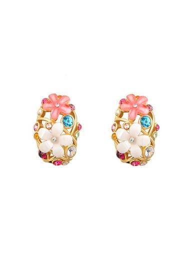 Elegant Flower Shaped Resin Clip On Earrings
