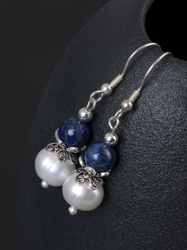 Retro style Freshwater Pearl Blue Stone Bead 925 Silver Earrings