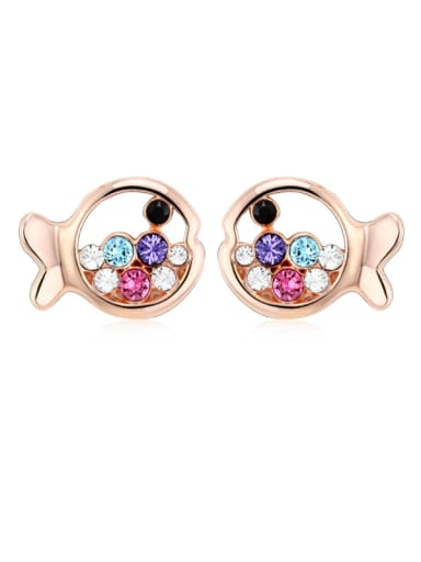 All-match Female Crystal Fish Shaped stud Earring