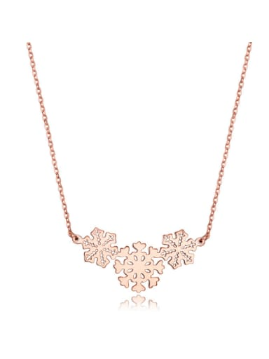 Europe And The United States Steel Anti Allergy Rose Gold Snow Short Necklace