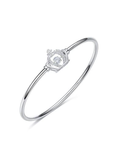 Fashion Shiny Rotational Zircon-studded Crown 925 Silver Bangle