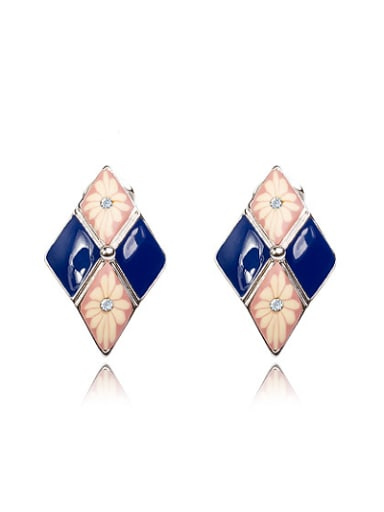 Blue Diamond Shaped Flower Pattern Enamel  Stud Earrings