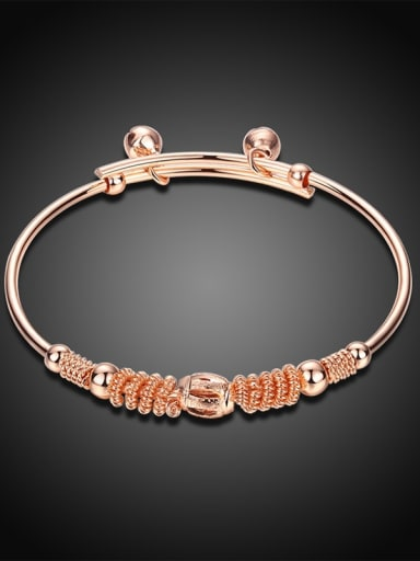 Exquisite Rose Gold Plated Geometric Shaped Bell Bangle