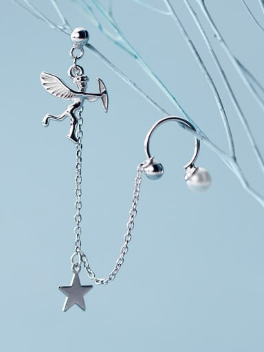 925 Sterling Silver With Platinum Plated Simplistic Angel Drop Earrings