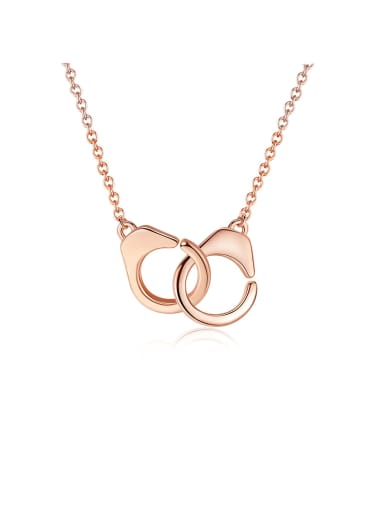925 Sterling Silver With Rose Gold Plated Simplistic Round Interlocking  Necklaces