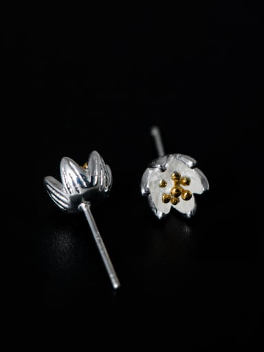 Retro style Tiny Flower 925 Silver Stud Earrings