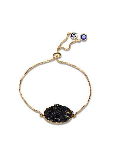 Adjustable Length 18K Gold Plated Natural Stone Bracelet