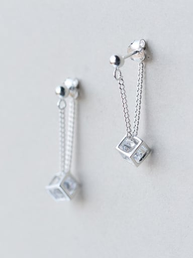All-match Square Shaped Shimmering Zircon Silver Drop Earrings