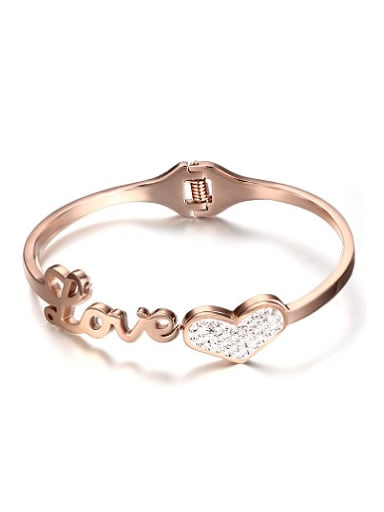 Exquisite Rose Gold Plated Heart Shaped Rhinestones Bangle