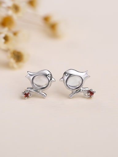 Tiny Bird Oval Stone 925 Silver Stud Earrings