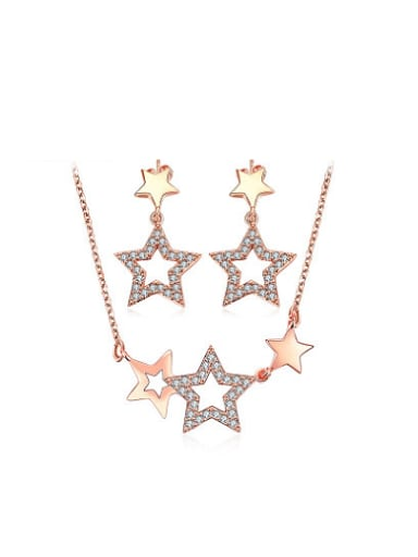 Elegant Star Shaped AAA Zircon Two Pieces Jewelry Set