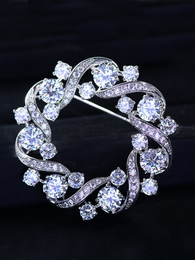 Copper With  Cubic Zirconia Class Round Brooches