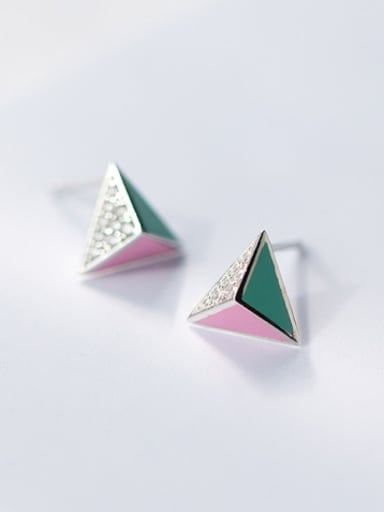 S925 silver solid triangles zircon stud cuff earring