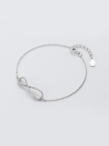 Temperament Number Eight Shaped S925 Silver Rhinestone Bracelet