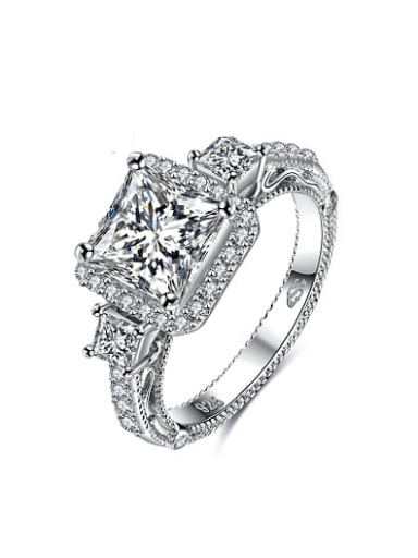 All-match Square Shaped 925 Silver Zircon Ring