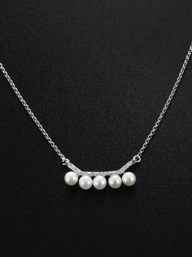 Simple Artificial Pearls Rhinestones Necklace