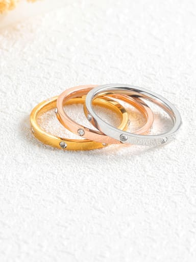 Stainless Steel With Classic tricolor gold Rings
