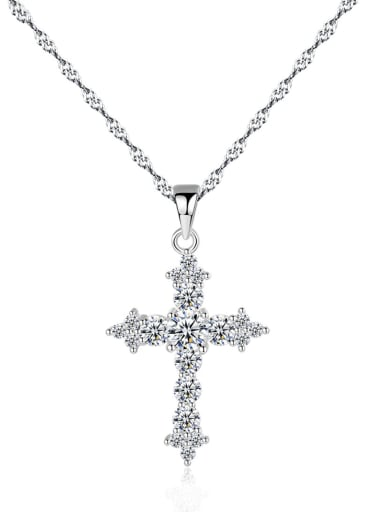 925 Sterling Silver With Cubic Zirconia Personality Cross Necklaces