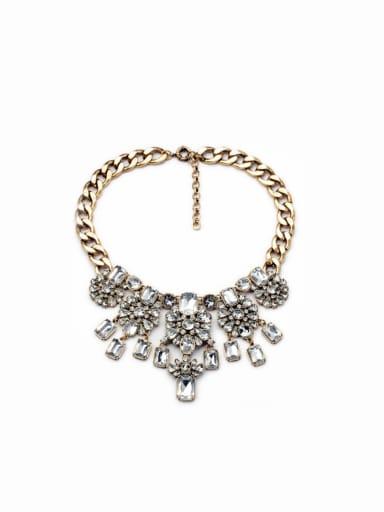 Luxury White Rhinestones Alloy Necklace