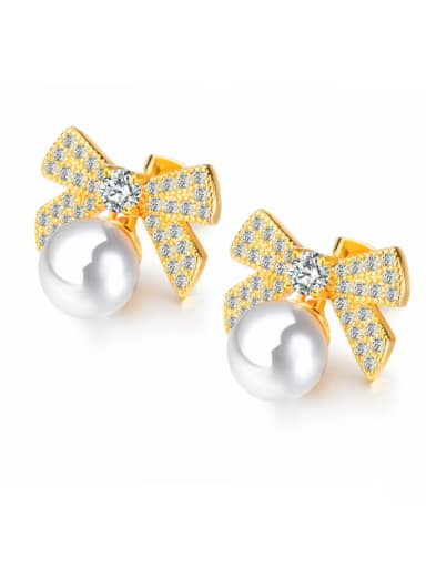 Copper With 18k Gold Plated Cute Bowknot Earrings