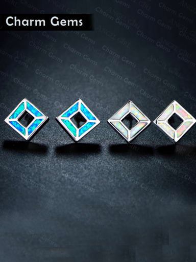 Copper inlay blue opal square personality stud earrings