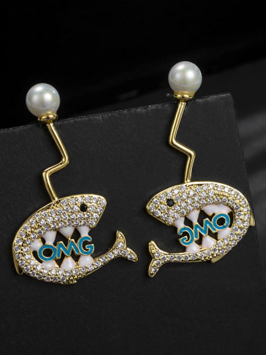 Copper With 18k White Gold Plated Cute shark Stud Earrings