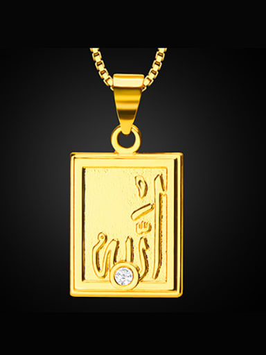 18K Rectangle Colorfast Pendant