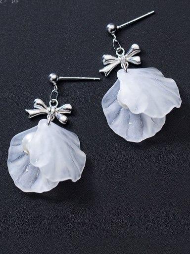 Pure silver white flower petal bow tie Earrings
