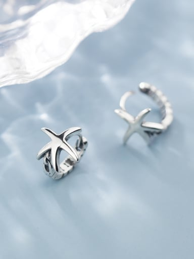 925 Sterling Silver With Antique Silver Plated Vintage Pentagram Clip On Earrings