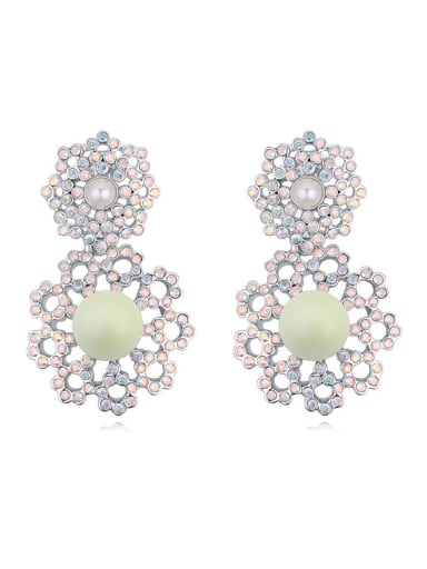Exaggerated Imitation Pearls Tiny Cubic Crystals-covered Alloy Stud Earrings
