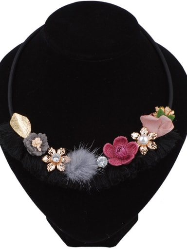 Fashion Cloth Flowers Pompon Ball Alloy Necklace