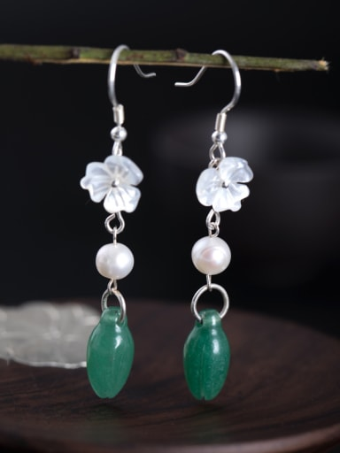 Retro style Natural Stone Shell Flower 925 Silver Earrings