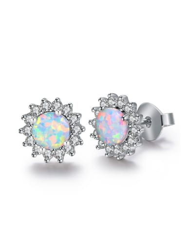 Flower Shaped Blue Stones Fashion Stud Earrings