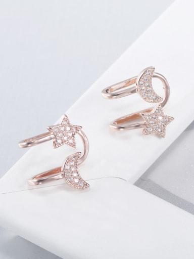 S925 Silver Star Shaped Zircon clip on earring