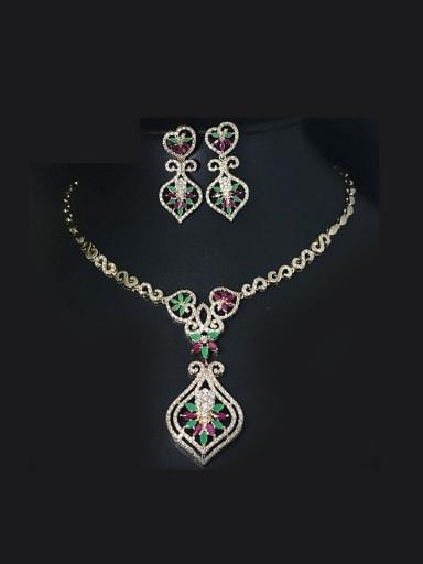 Retro Flower Colorful Zircons Two Pieces Jewelry Set