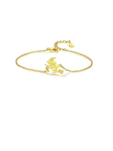 925 Sterling Silver With Gold Plated Simplistic Santa Claus  Bracelets