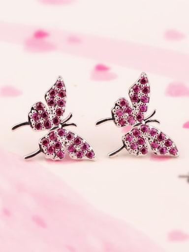 925 Sterling Silver Needles AAA Grade Red Corundum 5 # Butterfly Mosaic stud Earring