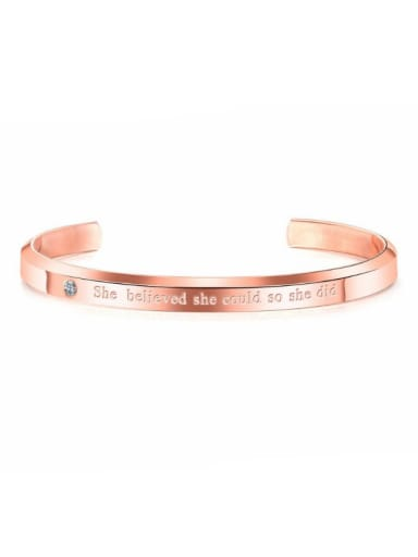 Stainless Steel With Rose Gold Plated Simplistic Monogrammed Bangles