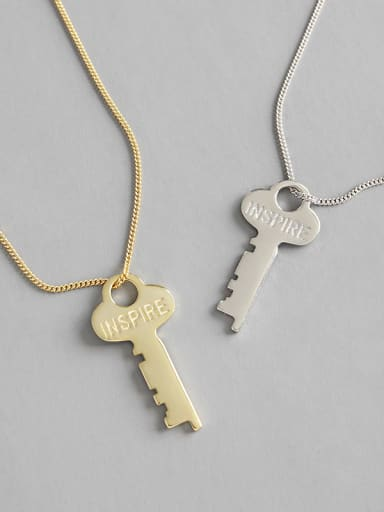925 Sterling Silver With 18k Gold Plated Classic Key Necklaces