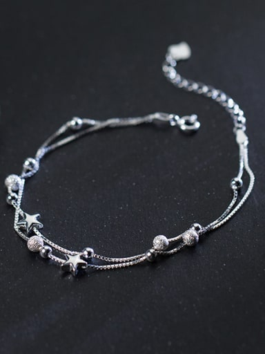 Adjustable Double Layer Star Shaped S925 Silver Bracelet