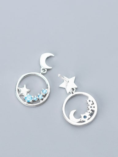 925 Sterling Silver With Platinum Plated Fashion Asymmetry  Stars Moon Stud Earrings