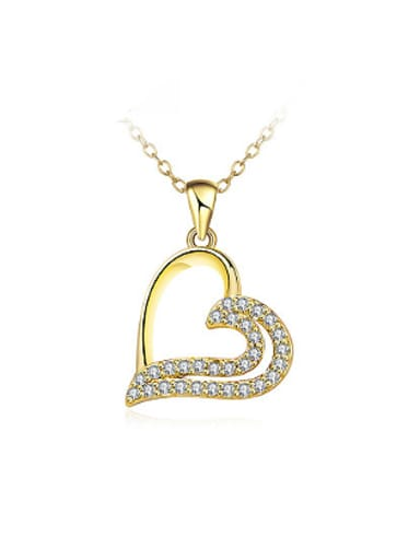 Charming 18K Gold Plated Heart Shaped Rhinestones Necklace