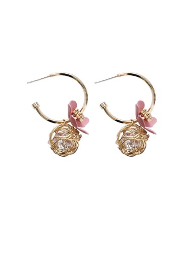 Alloy With  Acrylic Cute Hollow  Round Flower Hoop Earrings
